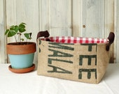 Custom order for Nell. Upcycled storage basket. Coffee burlap. Leather straps.