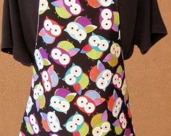 "Children's Handmade Reversible Apron or Artist Smock  with owls 20"" long"