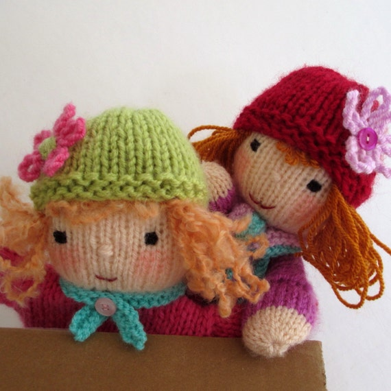 Puppet Gloves Knitting Pattern : Ruby and Rose hand puppet doll knitting pattern by dollytime