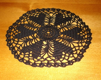 Hand crocheted Heart  Doily 7.5 inches diameter in BLACK for Valentine's Day Wedding formal