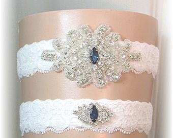 Bridal Garter Set, Wedding Garter Set, Stretch Lace Wedding Garters with Navy Blue Accent Crystals, Keepsake and Toss Garters, Bridal Belt
