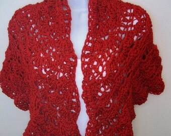 Women's Crocheted Red Shawl, Wrap