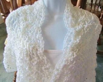 Crocheted white Shawl, Wrap, Wedding Shawl, Bridemaid Shawl