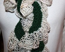 Knitting Pattern, Scarf Pattern, Patterns for Sashay Yarn, Spiral Scarf Pattern with Ruffle Yarn Edge, Easy to Knit Design, Knit Gift Idea