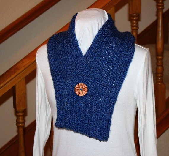 Easy to Knit Rib Scarf with Button Knitting Pattern - Button Scarf Pattern