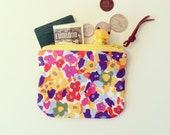 Coin Purse, Small Zipper Pouch with Flower print