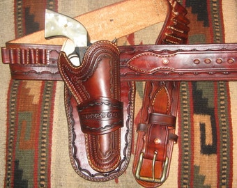 Custom Made Gun Belt and Holster set - 10/12 week delivery