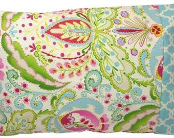 Kumari Garden Teja Pink and Tarika Blue Standard Pillowcase