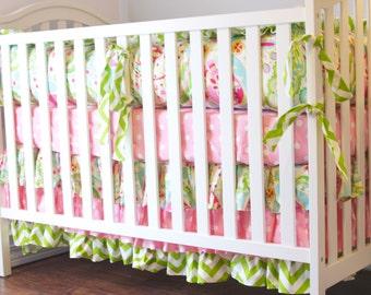 Kumari Ruffle Crib Skirt, Kumari tiered crib skirt, Kumari Baby Bedding