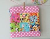 kawaii patchwork print zipper pouch - pink/pandas