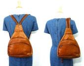 Vintage Brown Leather Backpack Graffeo Shoulder bag Brass Zipper pulls Weekender bag