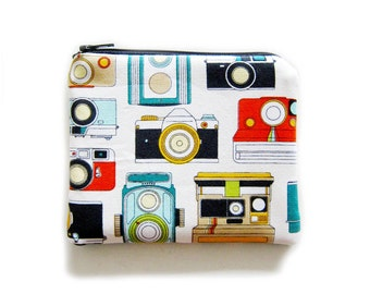 Zipper Pouch - Cameras on Gray - Available in Small / Large / Long