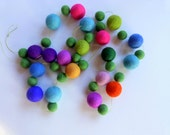 felt ball garland -Spring Garland in grass green and spring flower colors with large felt balls - in blues purples greens pinks  - 6 ft
