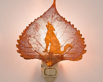 Real Cottonwood Leaf Dipped In Iridescent Copper With Coyote Silhouette Nightlight  - Iridescent Copper Leaves