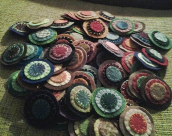 25 triple stacked sewn pennies Assorted colors