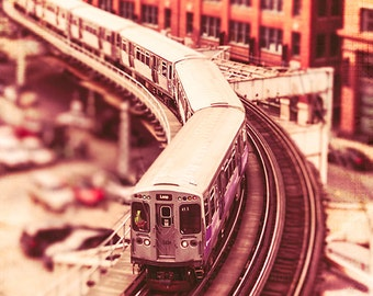 Chicago Loop Train / Brown line / Train Photograph / art for walls / boys room / orange home decor / Chicago L train / playroom wall art