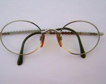 80s 90s Vintage Valentino Eyeglasses Silver Oval Frames Designer 1980s 1990s Model # v451