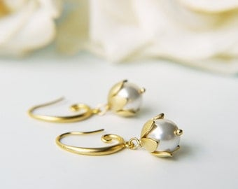White Pearl Earrings Matte Gold Swarovski Pearl Lily Of The Valley Wedding Earrings