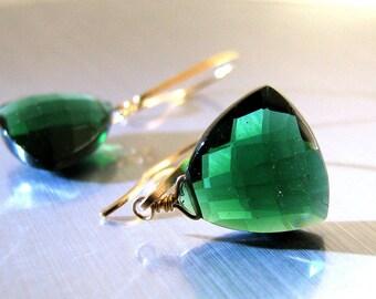 Green Earrings, Emerald Green Earrings, Gold Earrings, Emerald Green Quartz AAA, Luxe - Holly