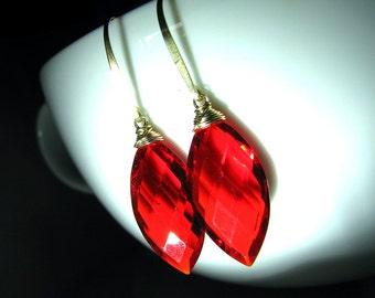 Red Earrings, Red Ruby Quartz Earrings, Gold, Red Quartz Earrings, Long Dangle - Cherry Red