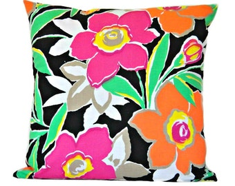 Tropical Floral Pillow Cover Cushion Retro Neon Black Fuchsia Tangerine Lime Green Yellow White Decorative 16x16