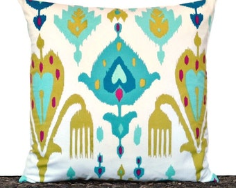 Teal Ikat Pillow Cover Cushion Turquoise Magenta Olive Green Royal Blue White Decorative Repurposed 18x18