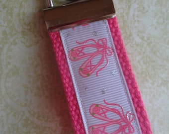 Ballet Shoes Hot Pink Mini Key Fob Ballerina Party Favor