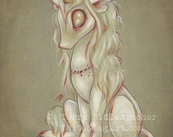 Zombie UNICORN goth undead lowbrow art print - cute big eye- Zombicorn