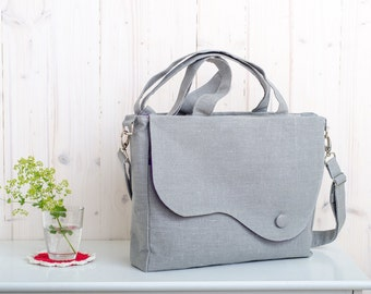 Elegant messenger and tote bag in grey linen. Choose your lining color. Summer bag. Everyday purse