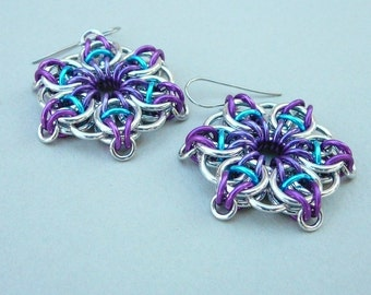 Chainmaille earrings--Celtic vision star in purple, violet, and turquoise anodized aluminum