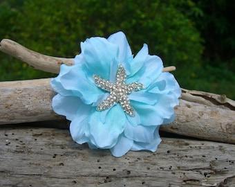 Starfish Floral Hair Clip-SCUBA BLUE-Beach Weddings, Starfish Weddings, Starfish Hair, Mermaid Hair Clip, Bridesmaid Hair, Starfish, Ocean