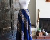 floral 70s hippie boho prairie maxi skirt