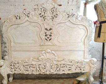 Painted Cottage Shabby  French Tea-Stain Finish Romantic Queen/ King Bed BD22