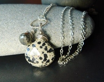 Dalmation Jasper, Silver Necklace, Pyrite Necklace, Gemstone Charms Winter Fashion, Black and White, Luxe