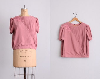 vintage pleated blouse • dusty pink • vintage asian blouse