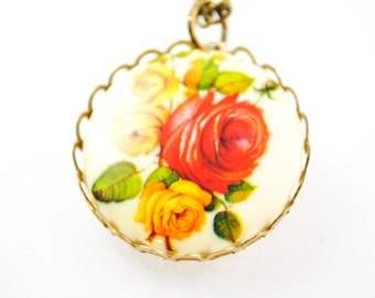 SALE - Large Vintage Red Rose Cameo Necklace - Women's Pendant Necklace - ivory, rose cameo, floral necklace