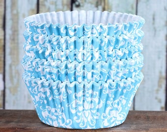 Sky Blue Damask Cupcake Liners, Sky Blue Damask Cupcake Wrappers, Cupcake Cases, Stay Bright Greaseproof Cupcake Liners, Baking Cups (50)