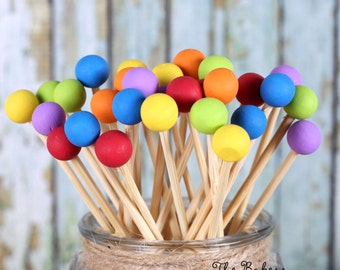 Boys Rainbow Lollipop Sticks, Rainbow Cake Pops Sticks, Painted Rock Candy Sticks, Candy Kabob Stick, Rainbow Pop Sticks, Rainbow Party (12)