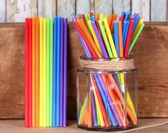 """6"""" Happy Rainbow Lollipop Sticks, Rainbow Cake Pop Sticks, Rainbow Sucker Sticks, Marshmallow Pop Sticks, Unicorn Party Cake Pop Sticks"""