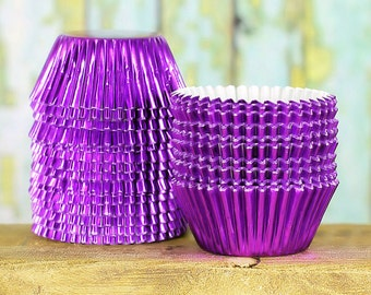 Mini Purple Foil Cupcake Liners, Puprle Foil Candy Cups, Mini Purple Foil Baking Cups, Mini Treat Cups, Mini Cupcake Tins, Muffin Tins (100)