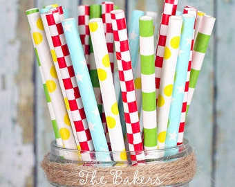 Circus Party Paper Straws, Circus Cake Pop Sticks, Drinking Straws, Party Straws, Clown Party Straws, Carnival Party Straws (30 ct)