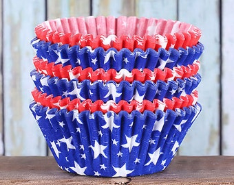 Patriotic Star Cupcake Liners in Red & Blue, USA Cupcake Liners, Star Baking Cups, Americana Cupcake Liner, 4th of July, Memorial Day (50)