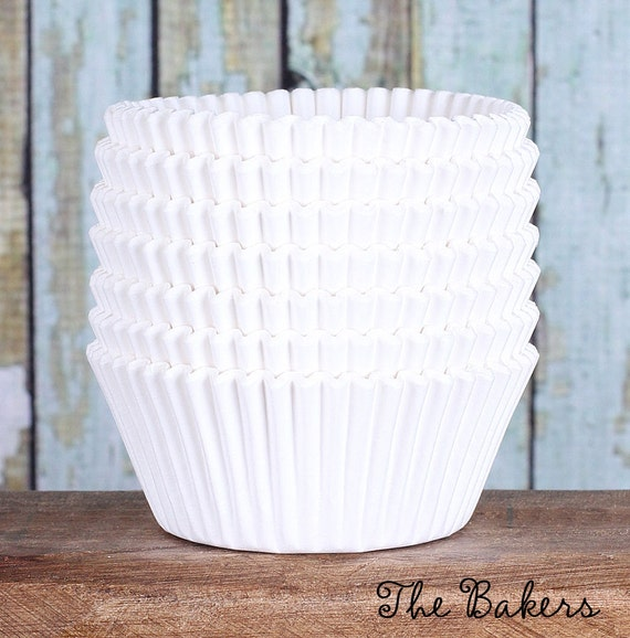 Stay Bright White Cupcake Liners, White Paper Cupcake Liners, Wedding Cupcake Liners, ColorBlock DESIGNER GREASE RESISTANT Liners (100 ct)