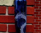 Recycled Blue Dragon Engraved Glass Bottle