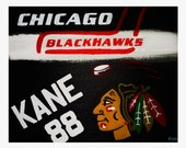 "8""x10"" Chicago Blackhawks Print // Kane 88 // Logo and Hockey Stick and Puck"