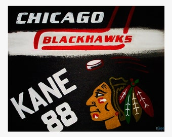 "8""x10"" Chicago Blackhawks Print // Kane 88 // Sports Fans Art // Wall Poster // Chicago Wall Art // Hockey Fans // Chicago Sports Fans"