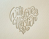 With love & affection... Valentine card letterpressed in soft grey