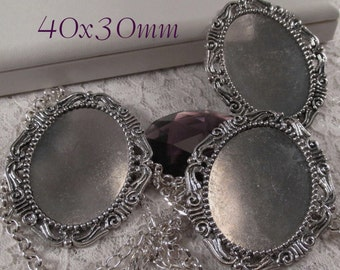 "40x30mm - Antique Silver Setting - ""Fancy Victorian"" - 3 pcs : sku 09.02.14.7 - W7"