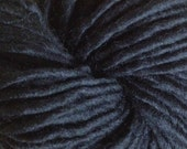 Bulky /Chunky Weight Hand Painted Wool Yarn Pencil Roving in True Black 60 yards