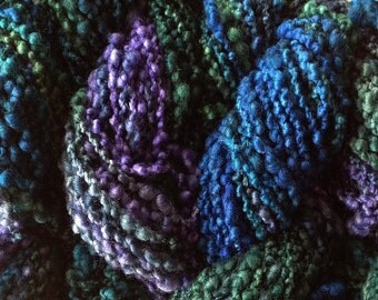 Hand Painted Bumpy Wool Yarn in Sea Turtle Hand Dyed